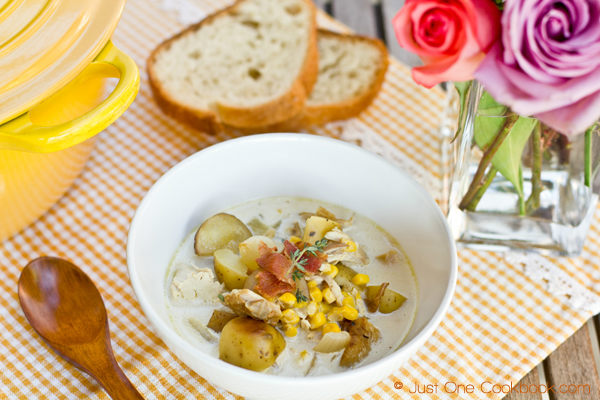 Chicken & Corn Chowder with Roasted Potato Recipe | JustOneCookbook.com