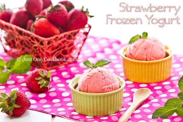 Strawberry Frozen Yogurt Recipe | JustOneCookbook.com