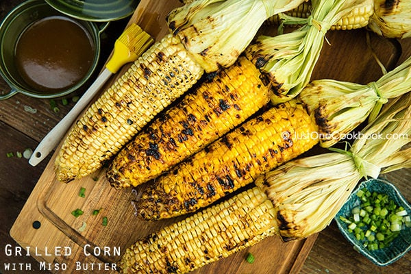 Grilled Corn with Miso Butter  | Easy Japanese Recipes at JustOneCookbook.com